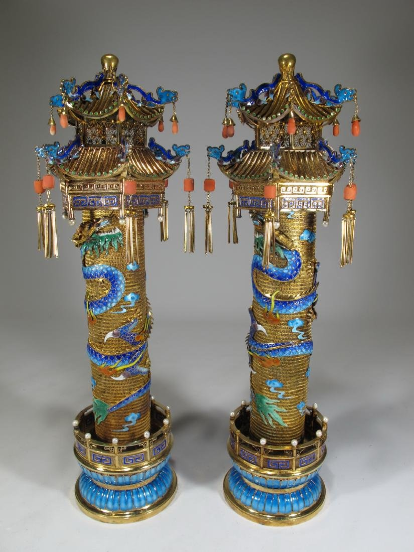 Chinese Export gilt silver & enamel towers