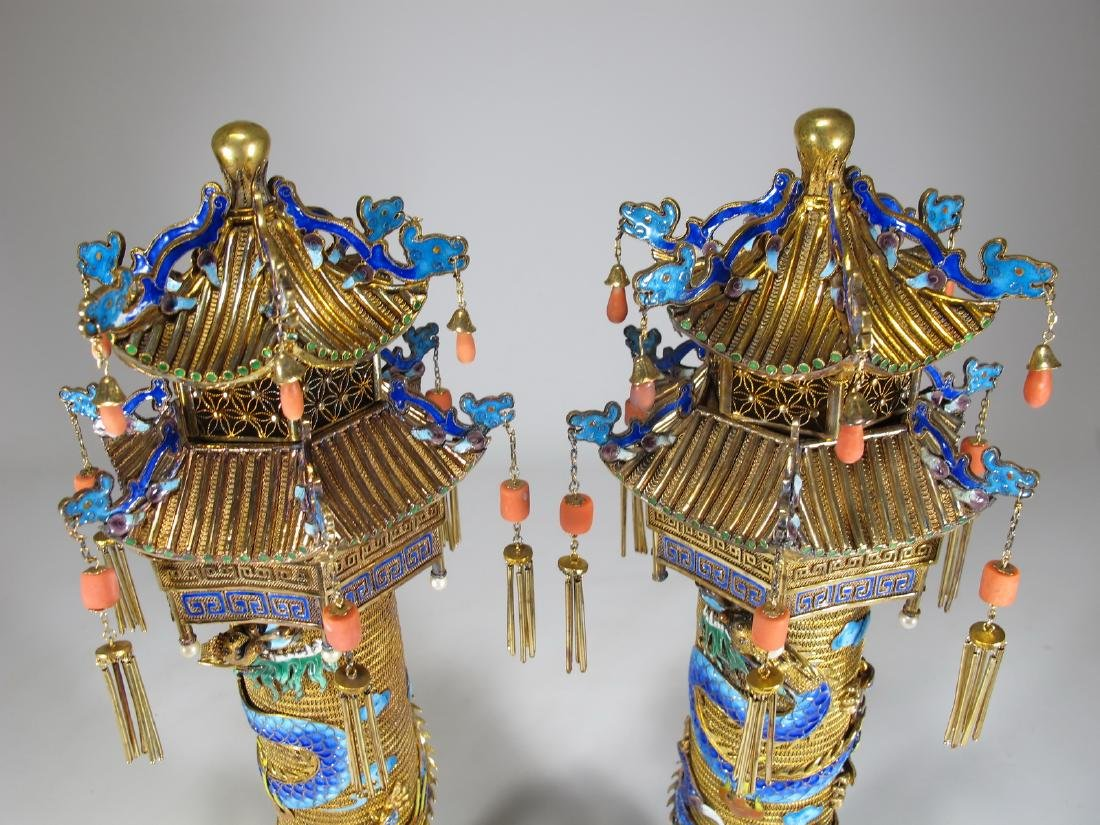 Chinese Export gilt silver & enamel towers - 2