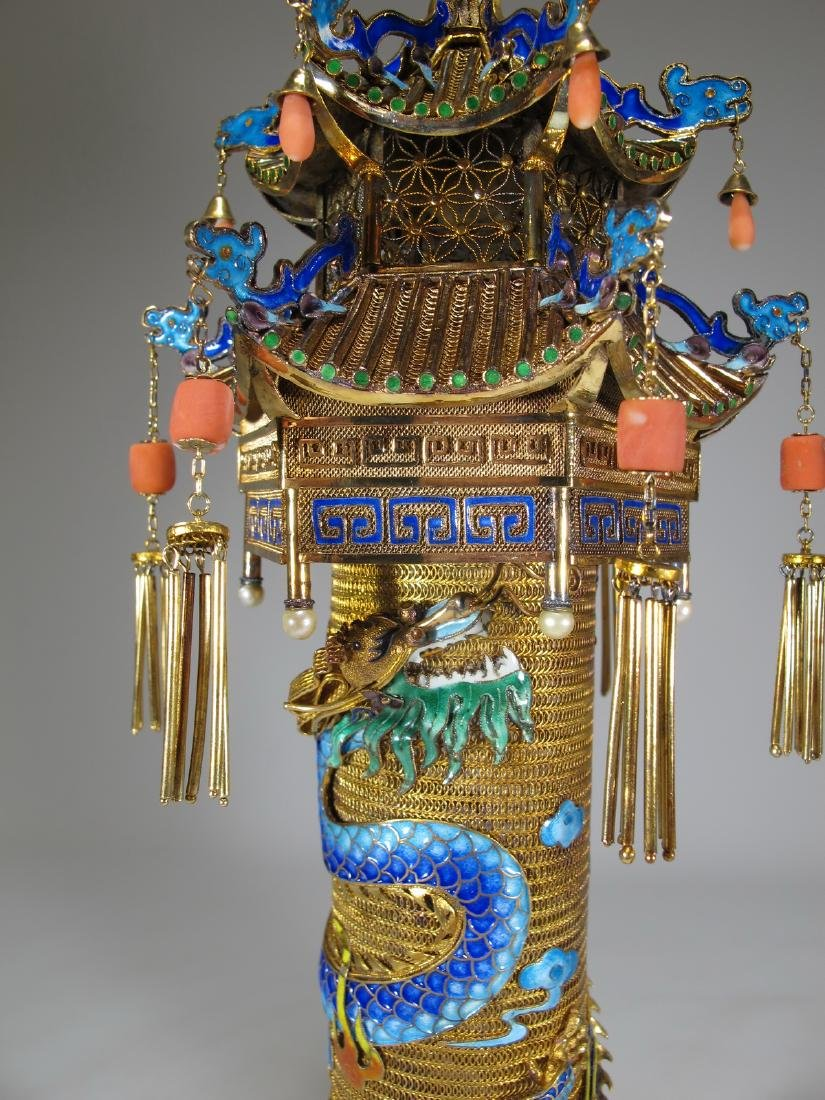 Chinese Export gilt silver & enamel towers - 3