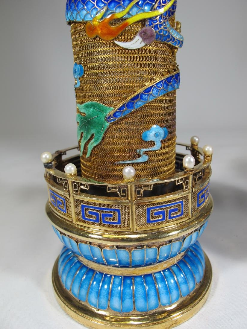 Chinese Export gilt silver & enamel towers - 5