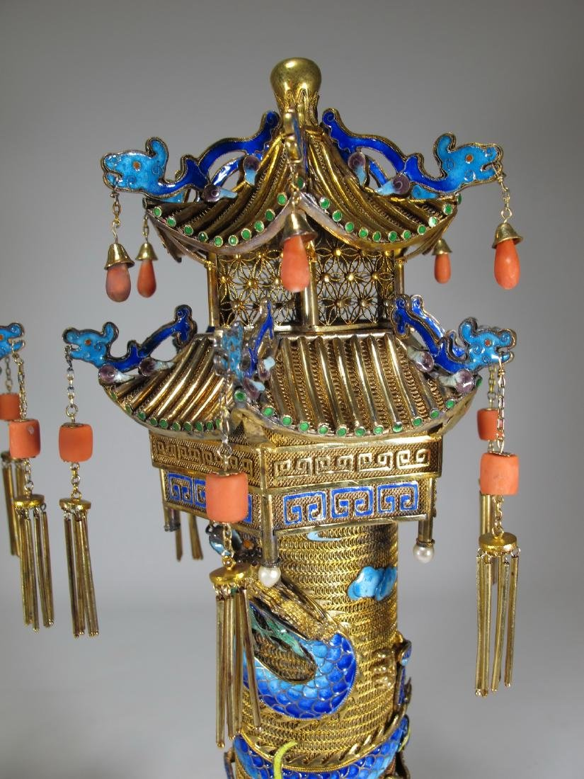 Chinese Export gilt silver & enamel towers - 7