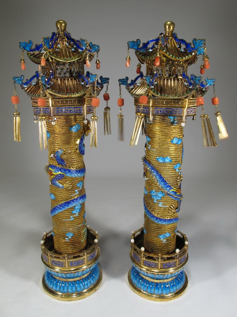 Chinese Export gilt silver & enamel towers - 8