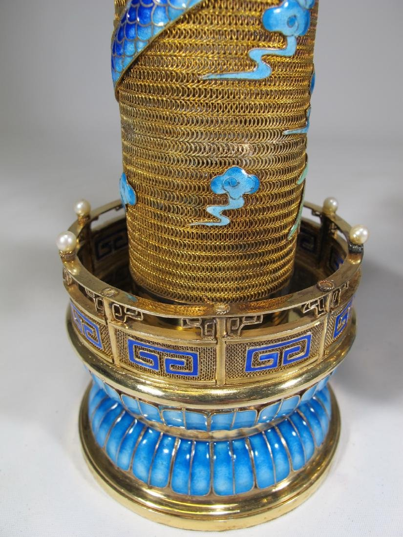 Chinese Export gilt silver & enamel towers - 9