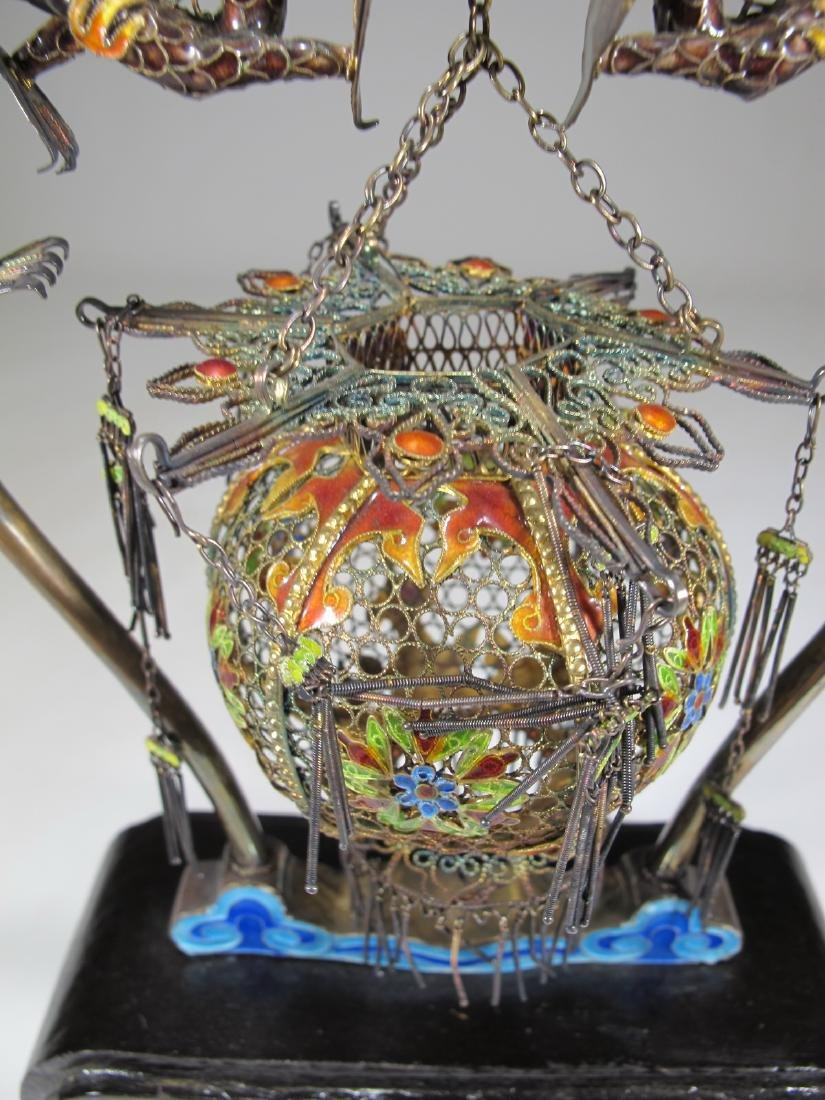Chinese Export filigree silver, jade & enamel cage - 3