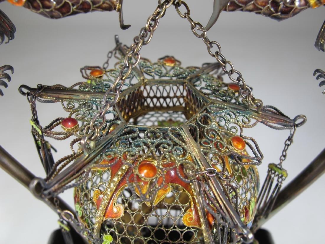 Chinese Export filigree silver, jade & enamel cage - 6