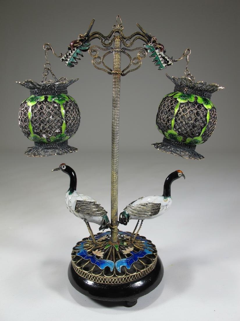 Antique Chinese Export filigree silver & enamel birds &