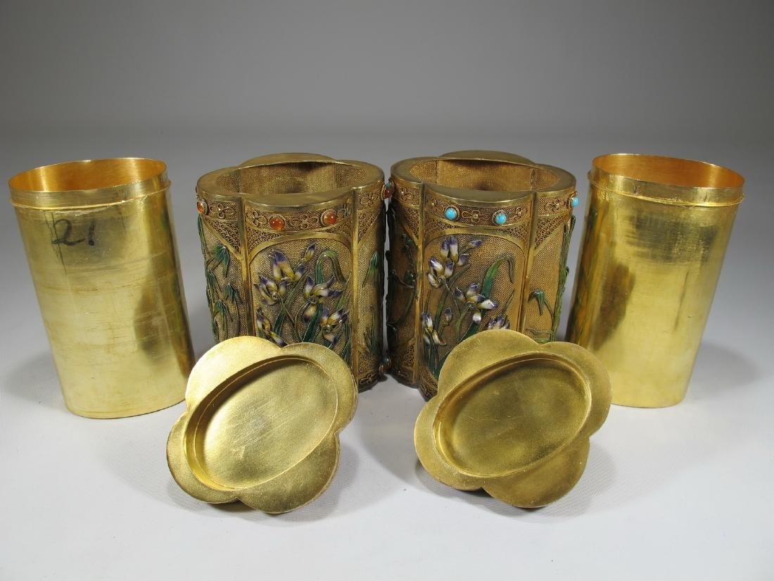 Chinese Export filigree gilt silver & enamel boxes - 10