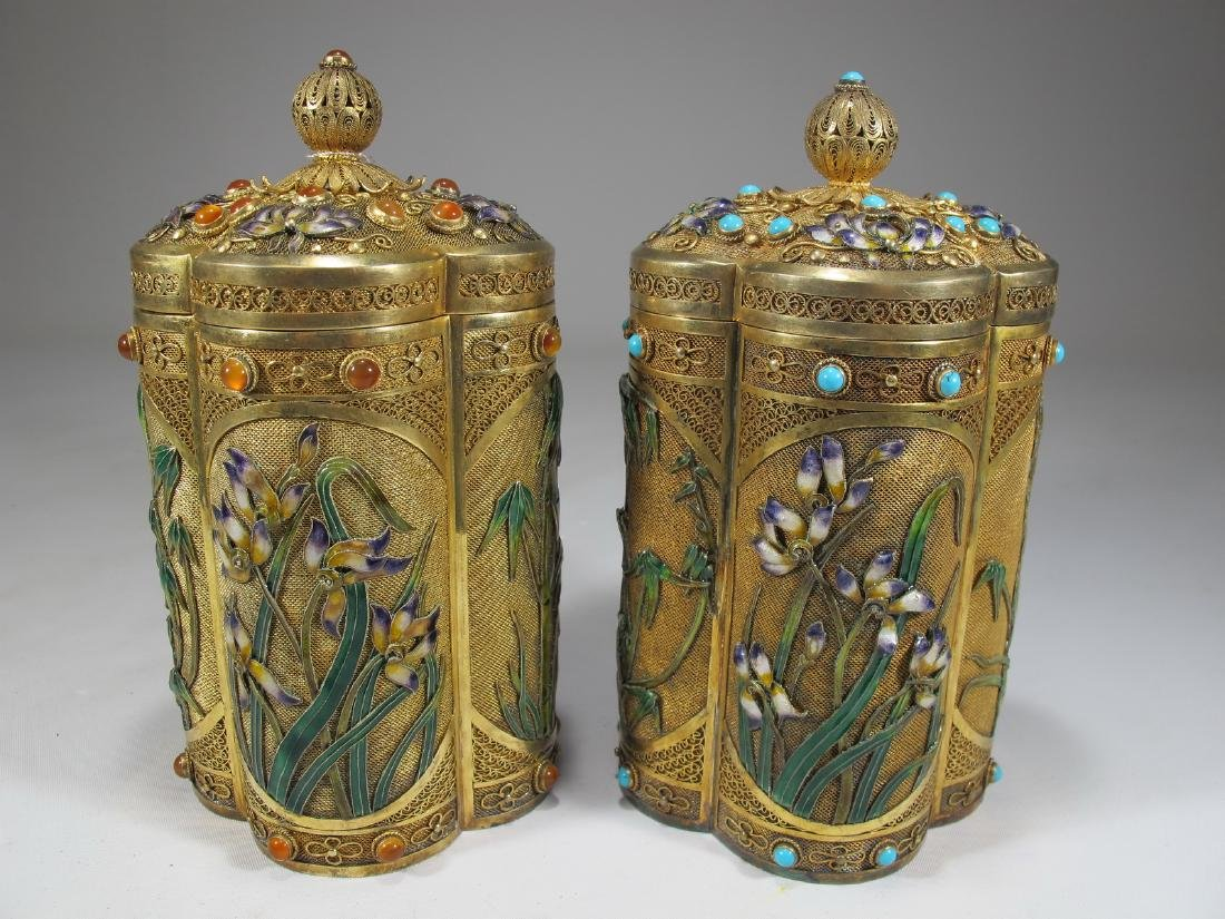 Chinese Export filigree gilt silver & enamel boxes