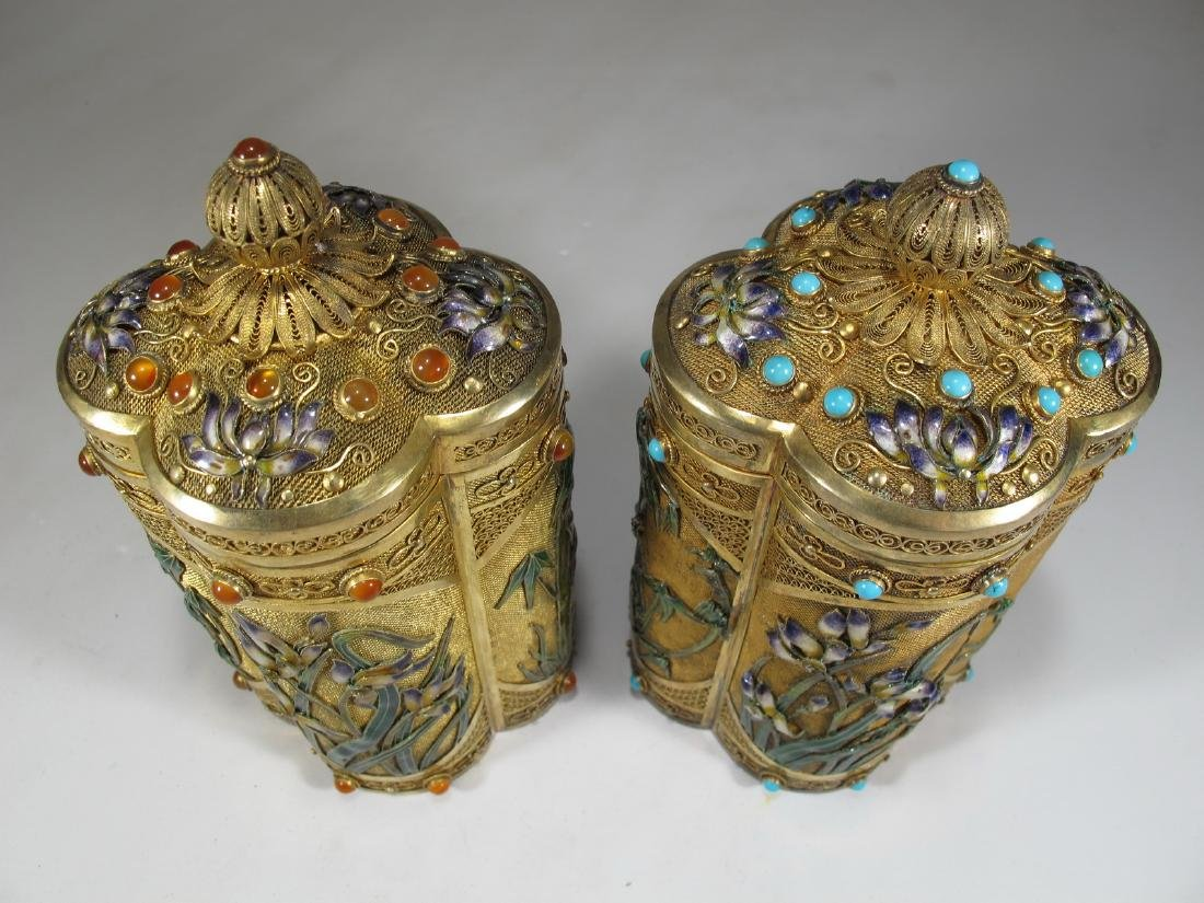 Chinese Export filigree gilt silver & enamel boxes - 2