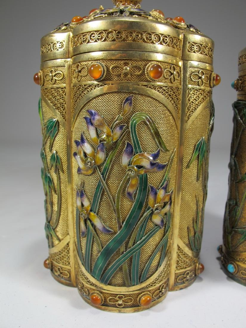 Chinese Export filigree gilt silver & enamel boxes - 3