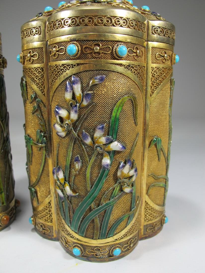 Chinese Export filigree gilt silver & enamel boxes - 4