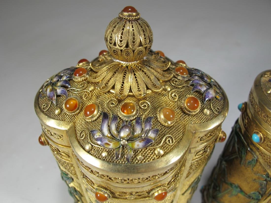 Chinese Export filigree gilt silver & enamel boxes - 5