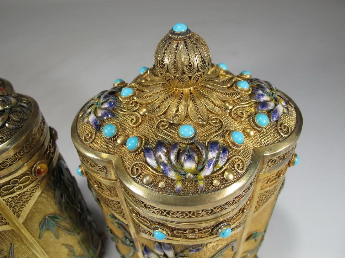 Chinese Export filigree gilt silver & enamel boxes - 6