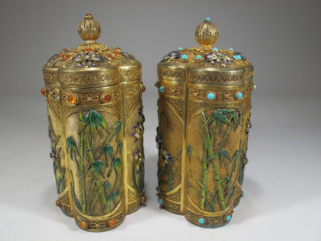 Chinese Export filigree gilt silver & enamel boxes - 7