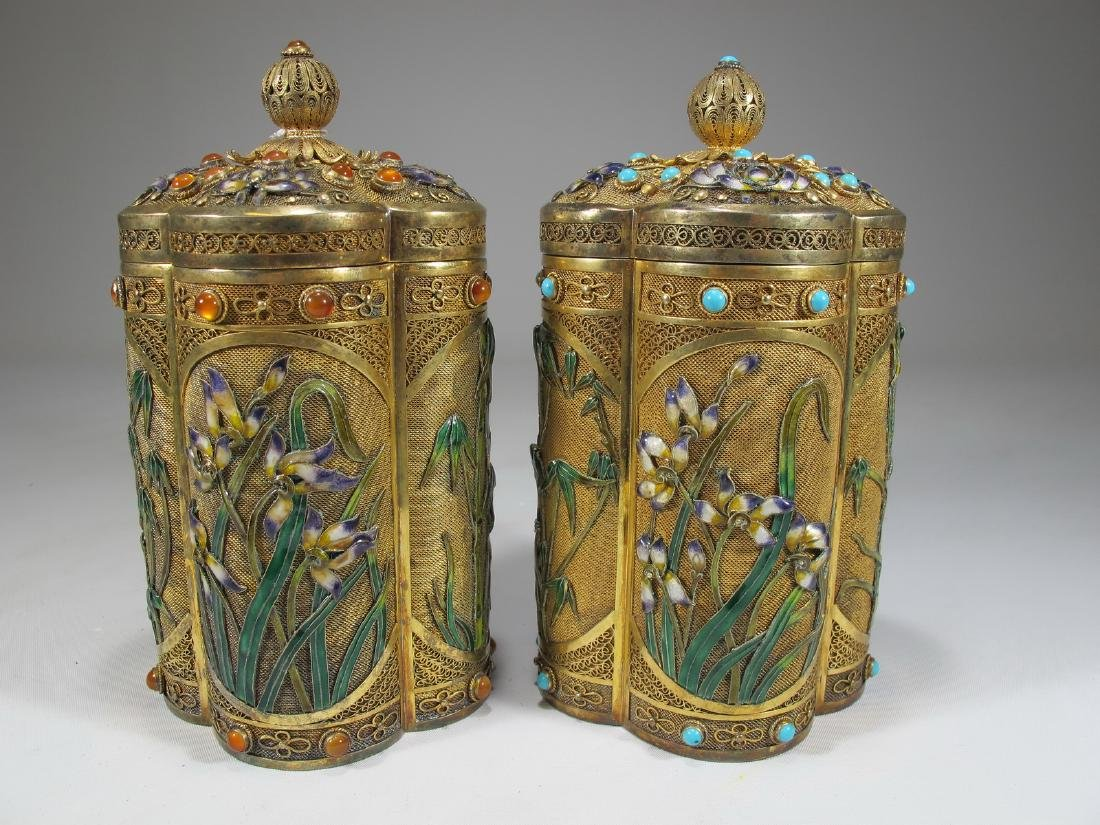 Chinese Export filigree gilt silver & enamel boxes - 8