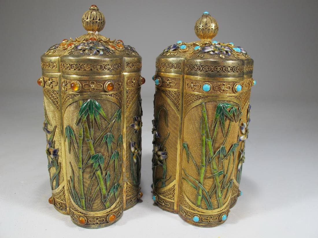 Chinese Export filigree gilt silver & enamel boxes - 9