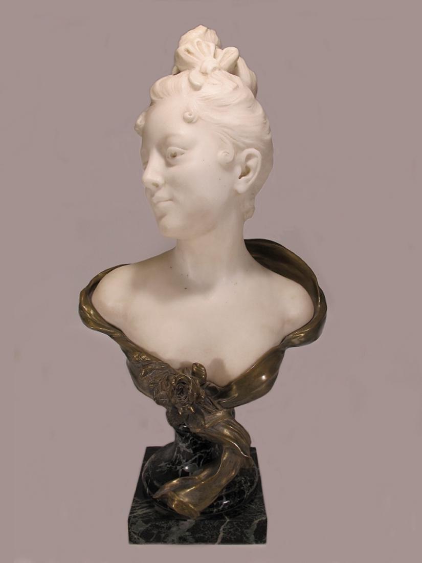 Eugène MARIOTON (1854-1933) bronze & marble bust