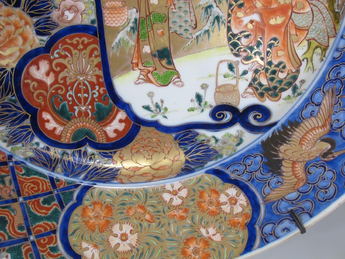 Huge Japanese Imari pair of porcelain plates - 10