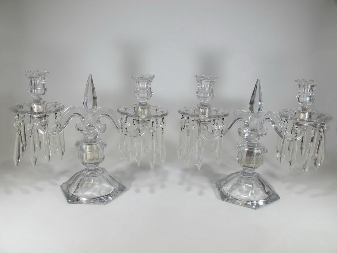 Vintage pair of crystal candelabras