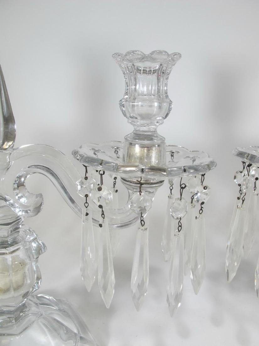 Vintage pair of crystal candelabras - 3