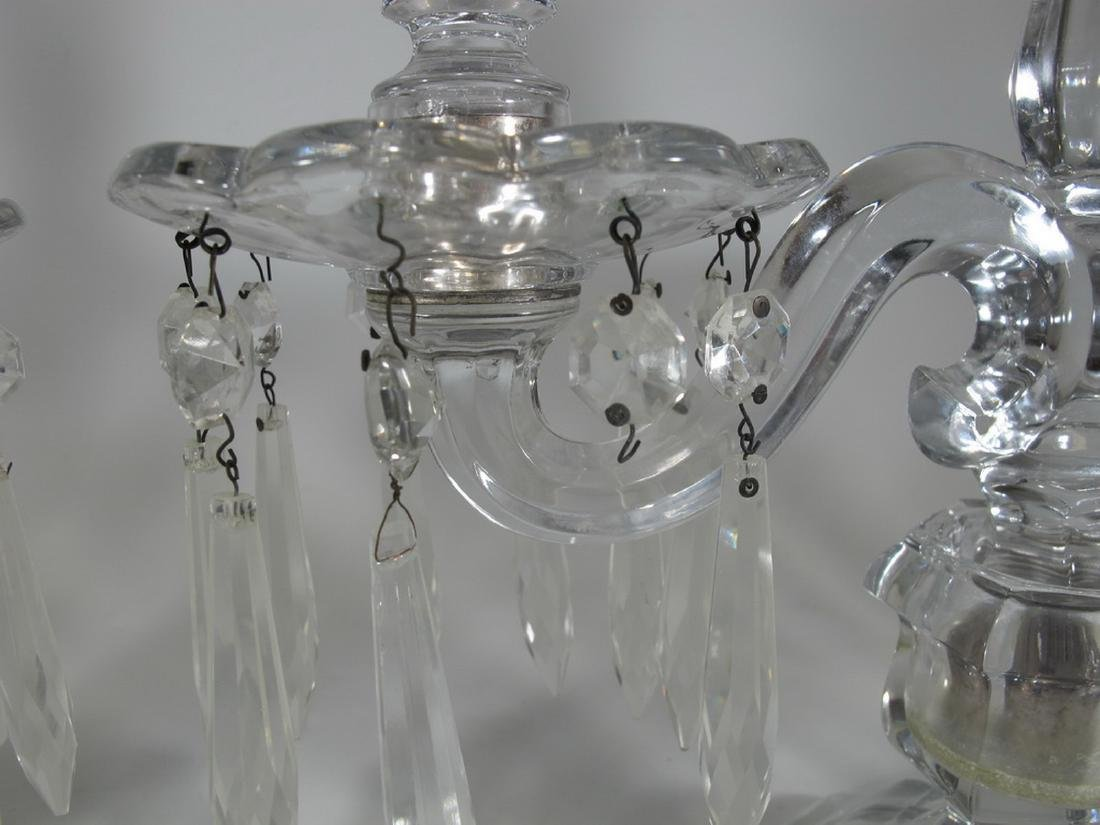 Vintage pair of crystal candelabras - 4