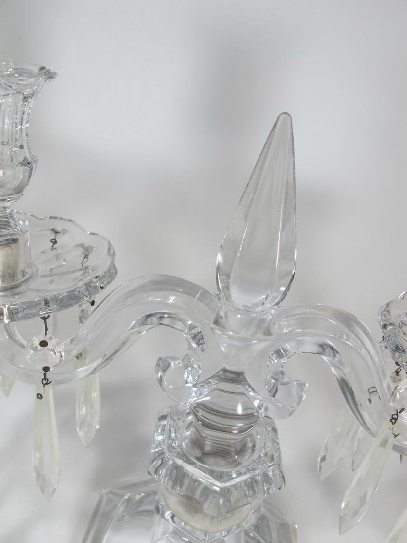 Vintage pair of crystal candelabras - 5