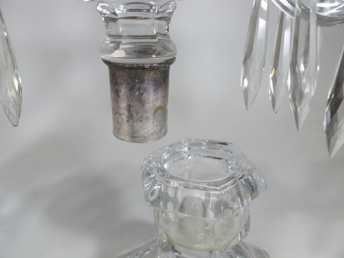 Vintage pair of crystal candelabras - 8