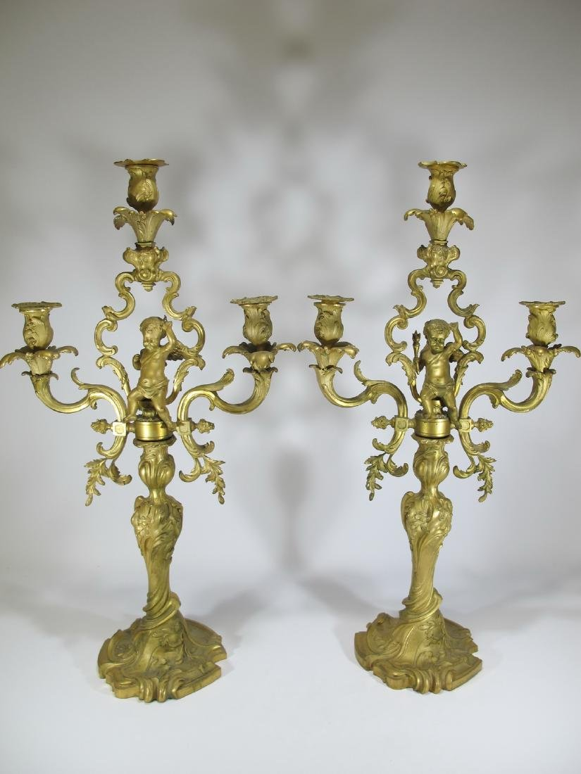 Antique French pair of bronze candelabras - 2