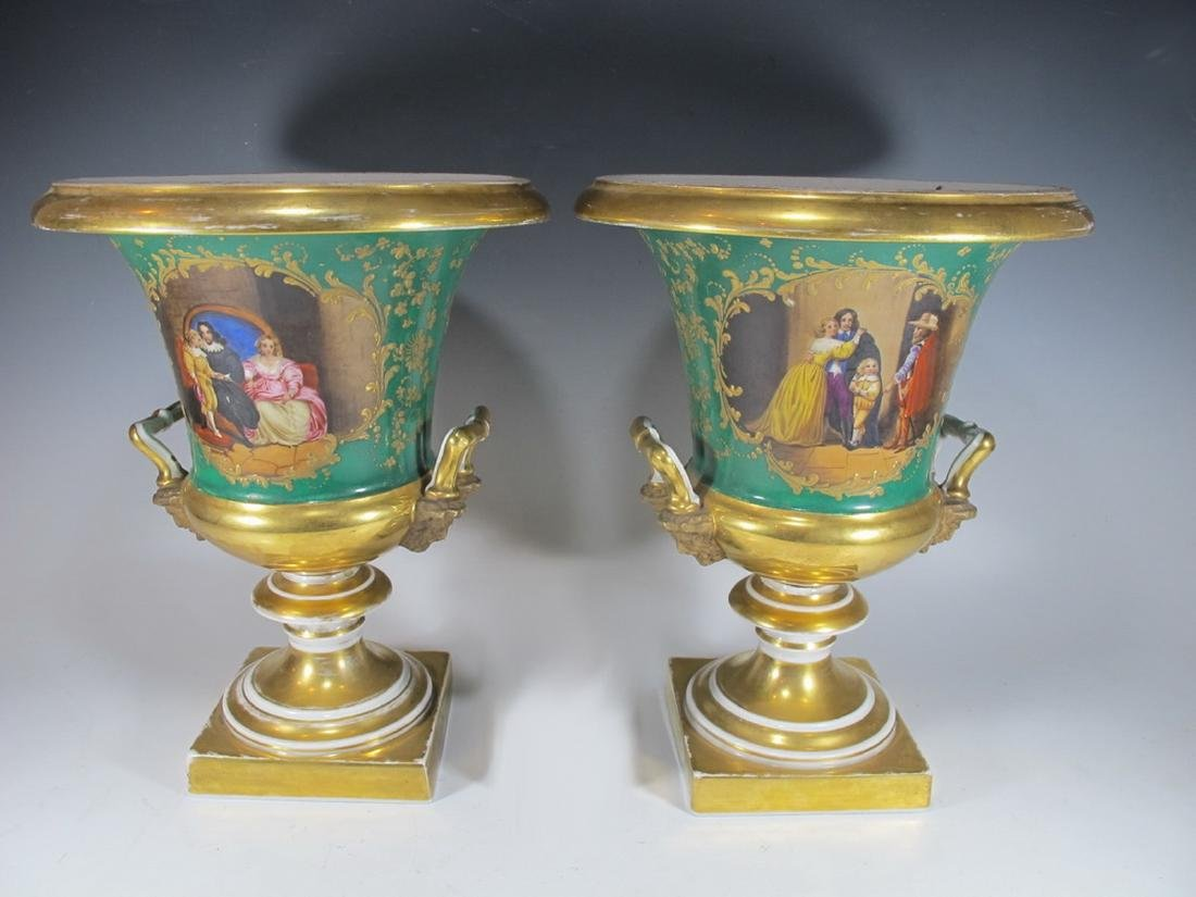 Antique French pair of porcelain urns