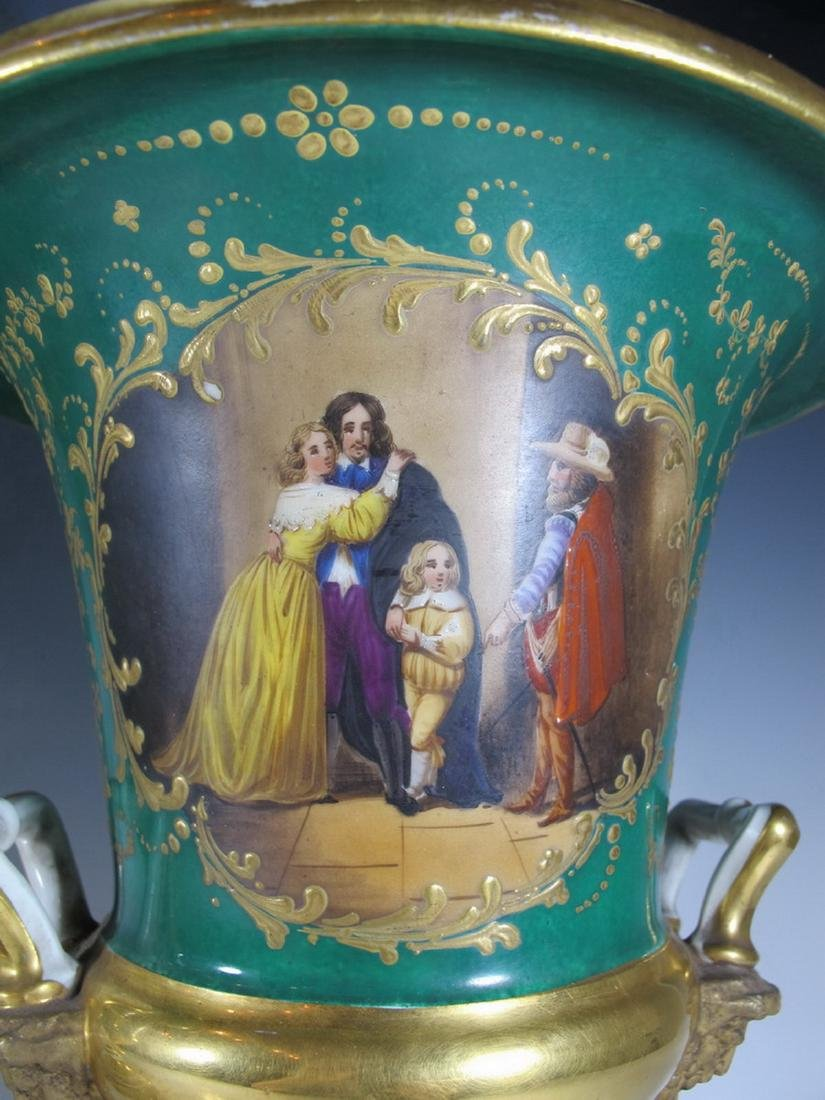 Antique French pair of porcelain urns - 4