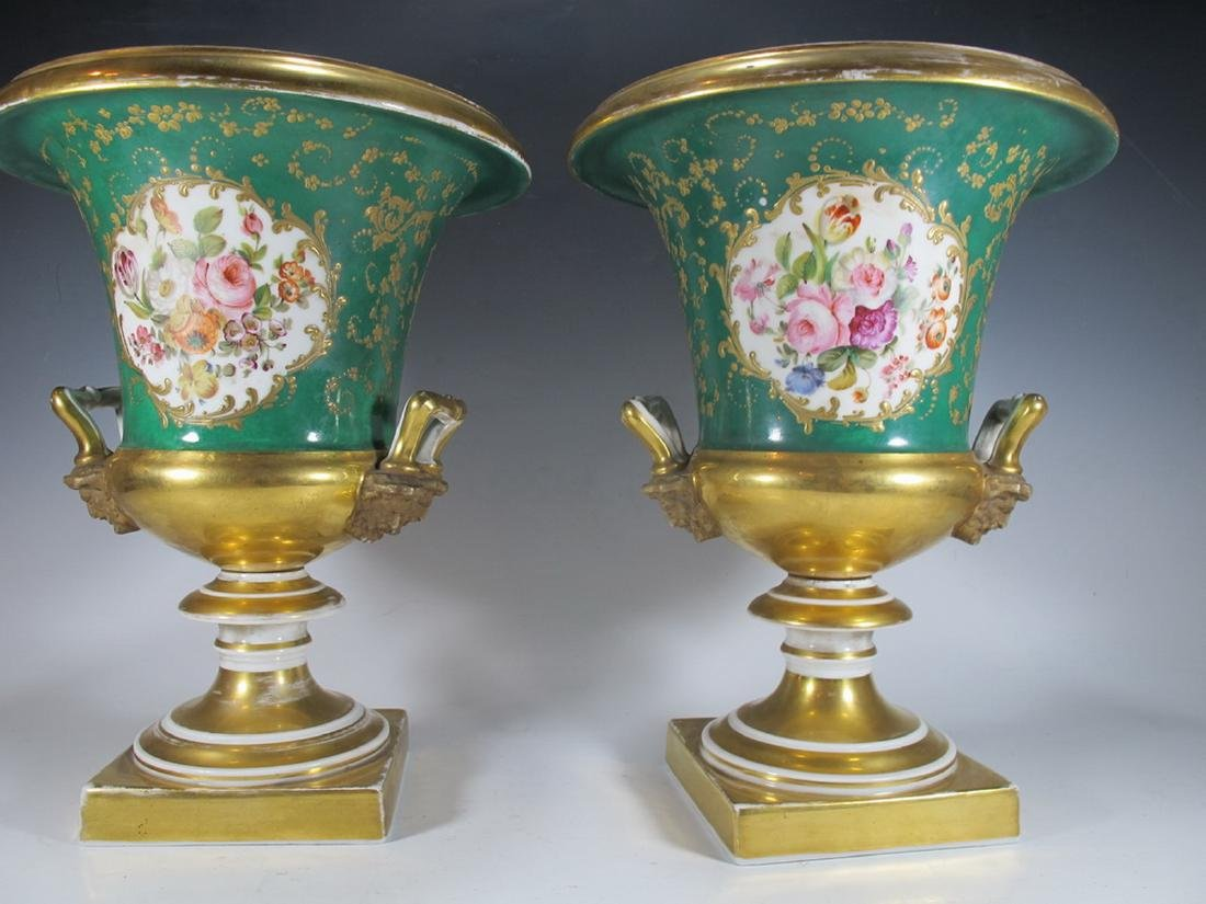 Antique French pair of porcelain urns - 6