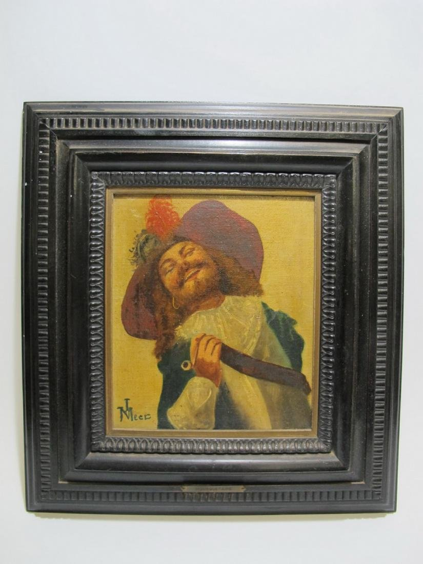 Antique French oil on board Mouquestaire painting,