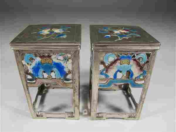 Chinese Export silver & enamel pedestal miniatures