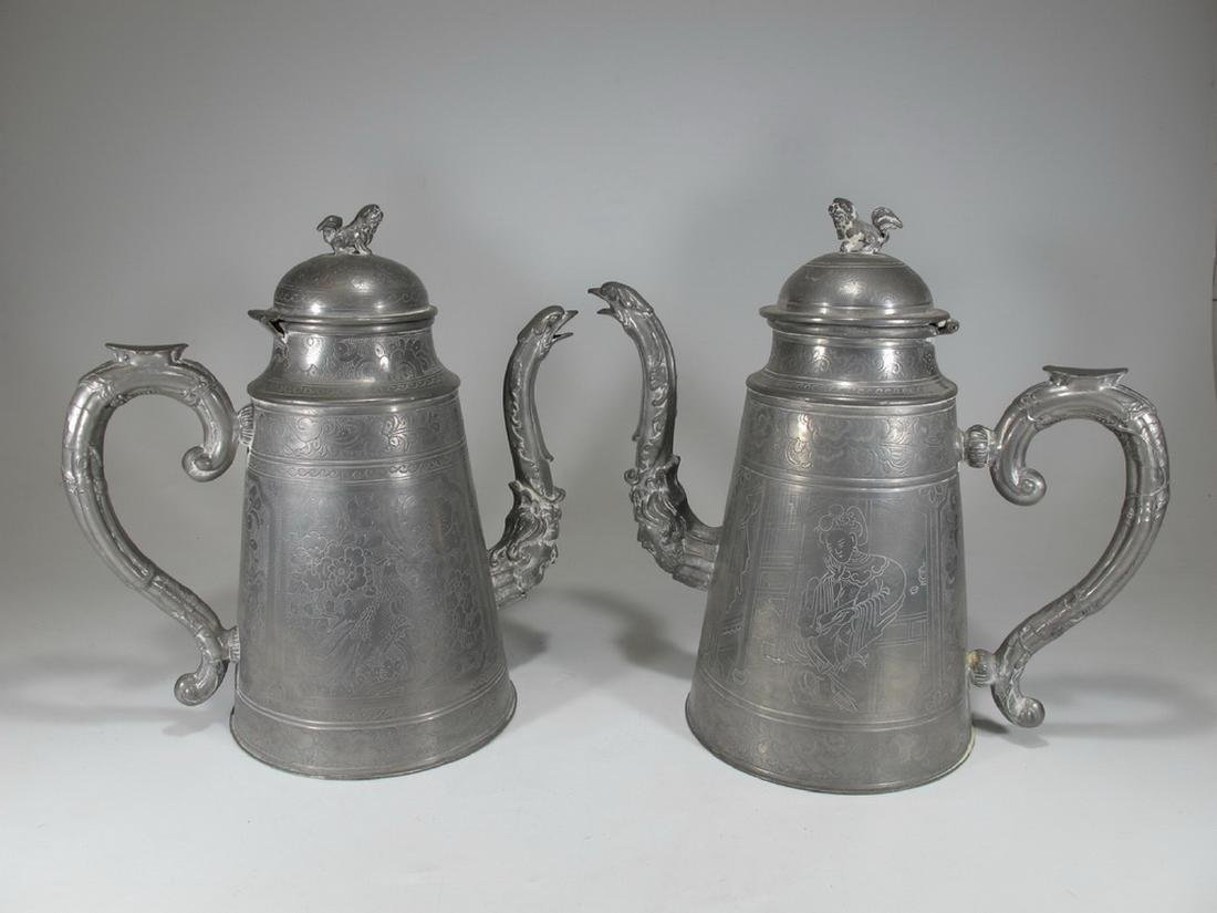 Antique Chinese pair of large pewter teapots