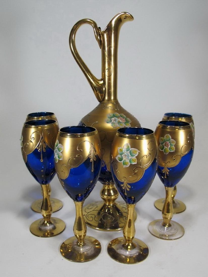 Antiques Bohemian pitcher & 6 glasses