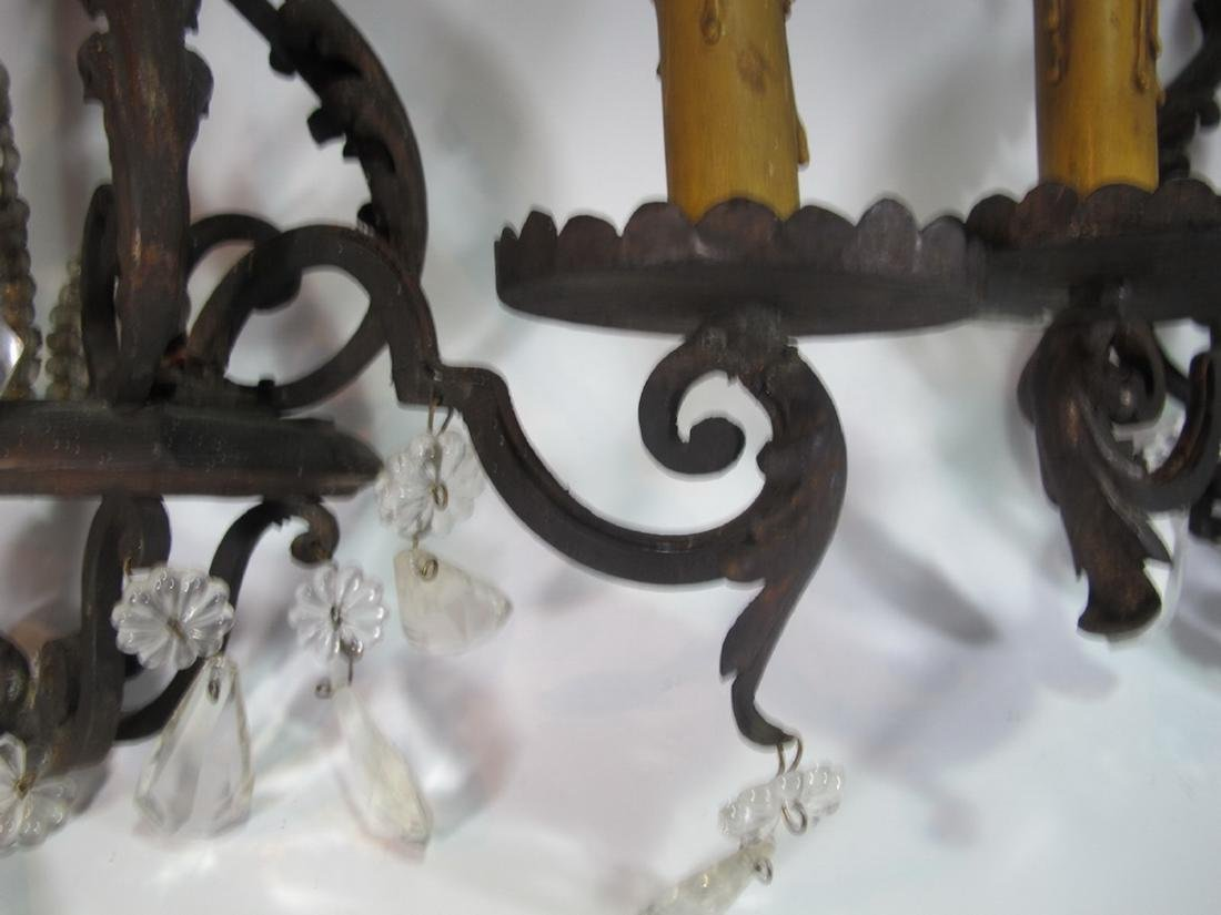 Antique pair of hollow wrought iron & crystals sconces - 3