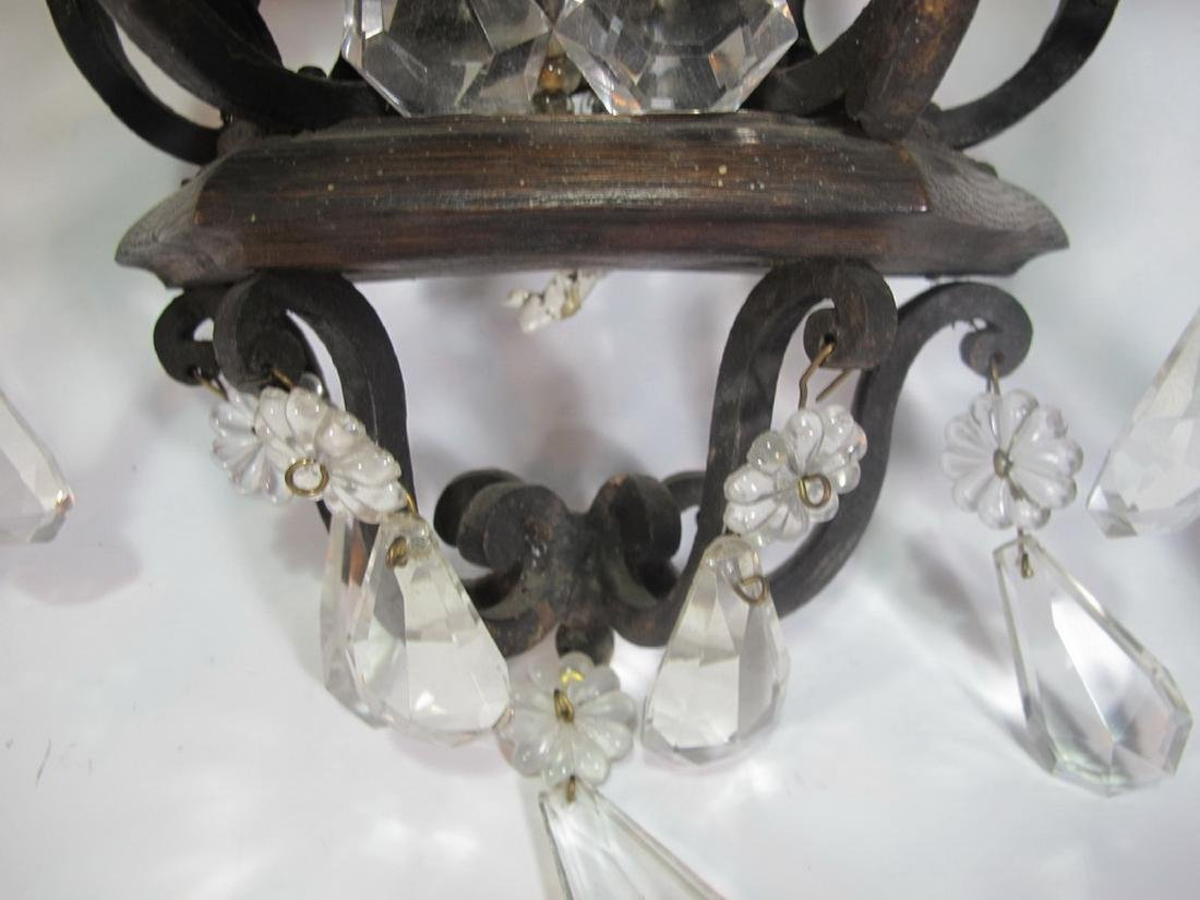 Antique pair of hollow wrought iron & crystals sconces - 7