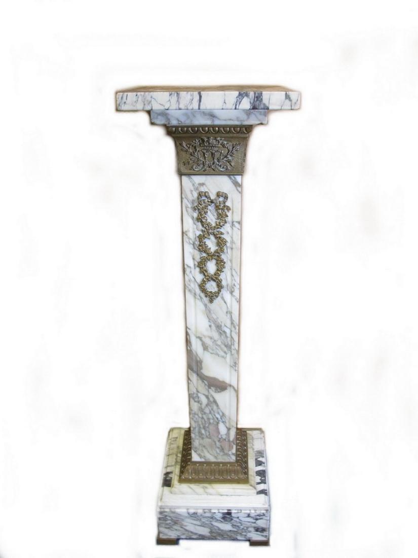 Antique French white marble & bronze pedestal