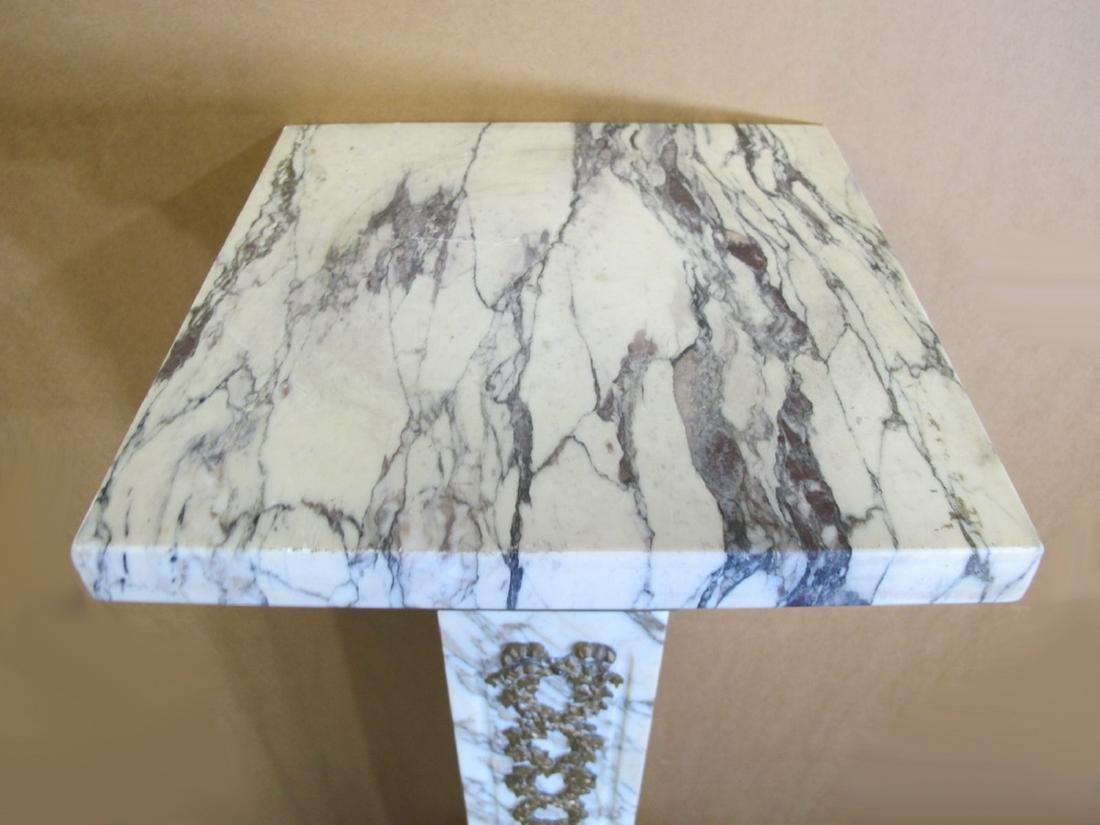 Antique French white marble & bronze pedestal - 2