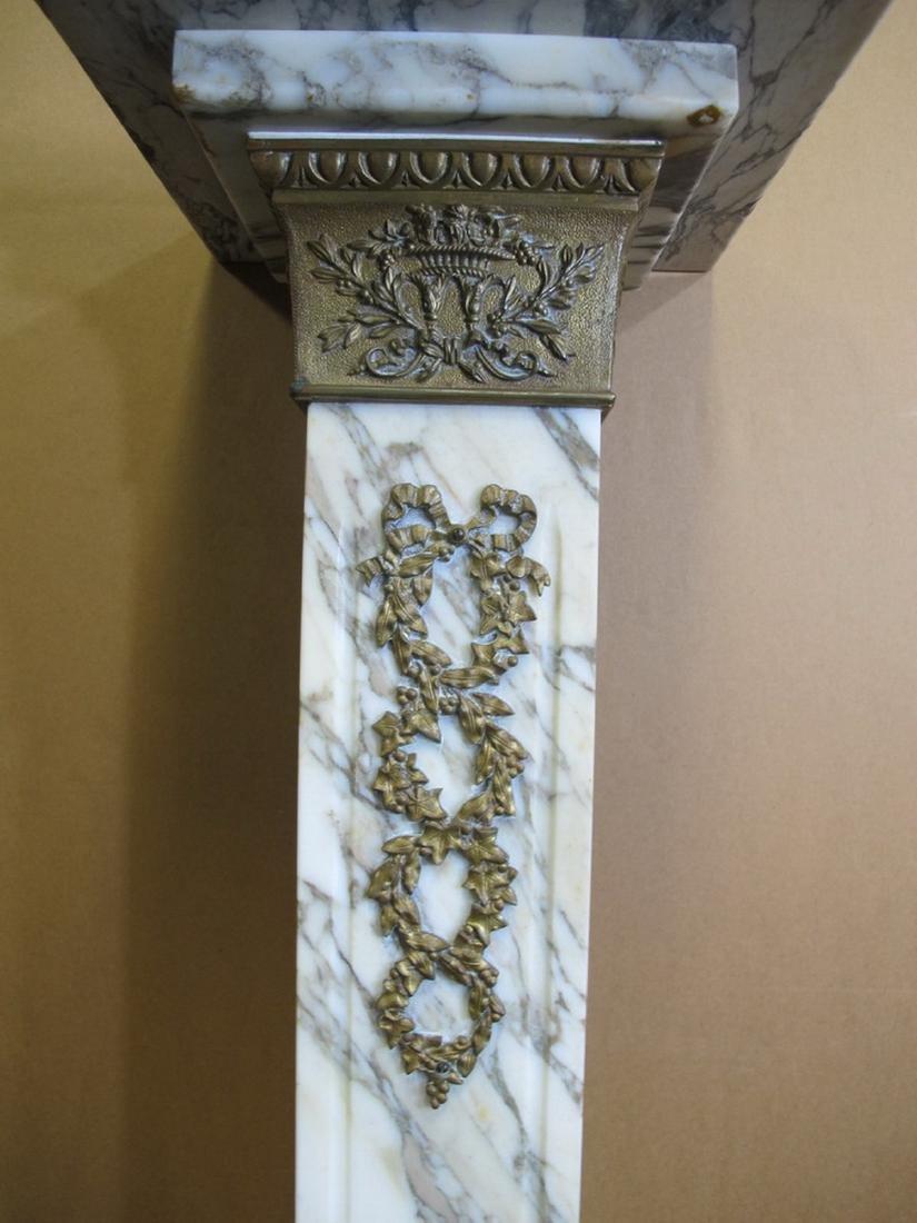 Antique French white marble & bronze pedestal - 3