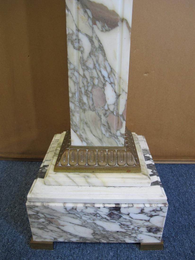 Antique French white marble & bronze pedestal - 4