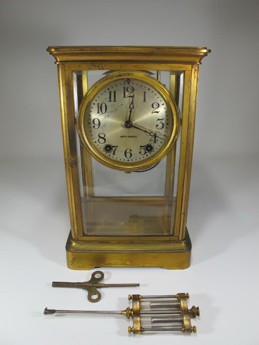 Antique Seth Thomas crystal regulator mantel clock