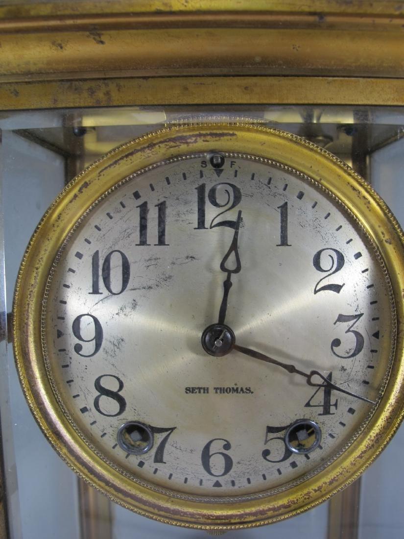 Antique Seth Thomas crystal regulator mantel clock - 2
