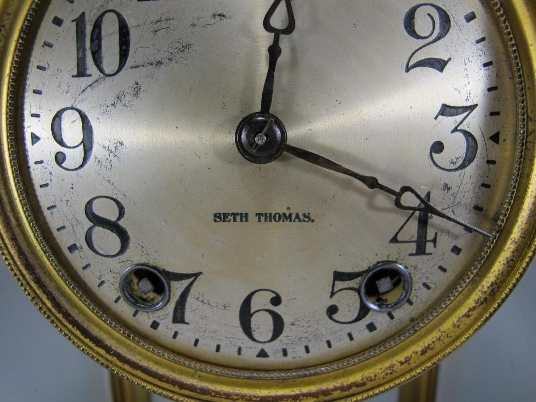 Antique Seth Thomas crystal regulator mantel clock - 4