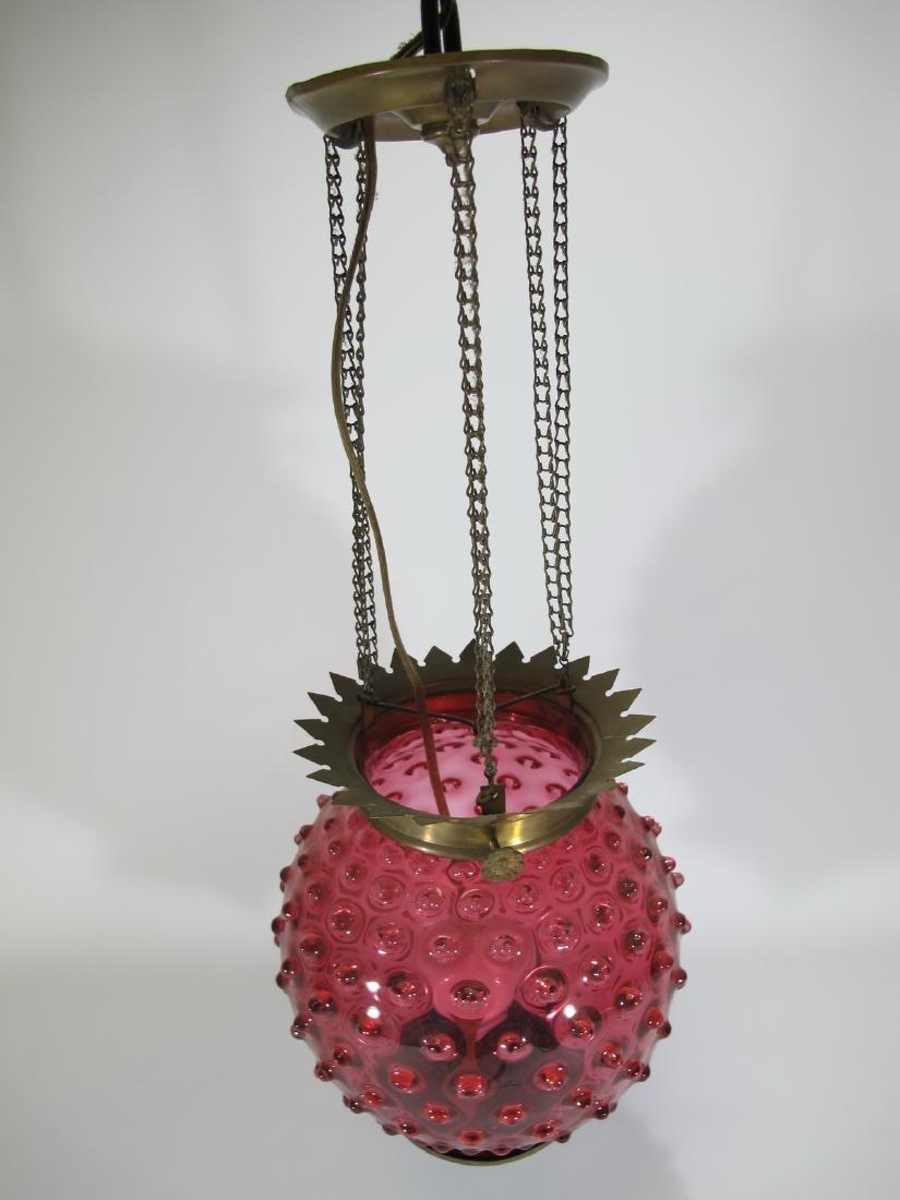 Antique cranberry glass chandelier