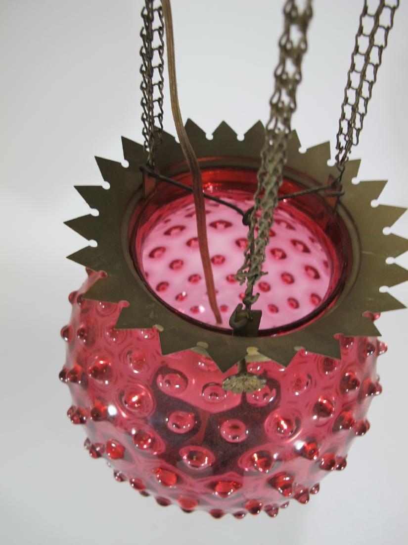 Antique cranberry glass chandelier - 2