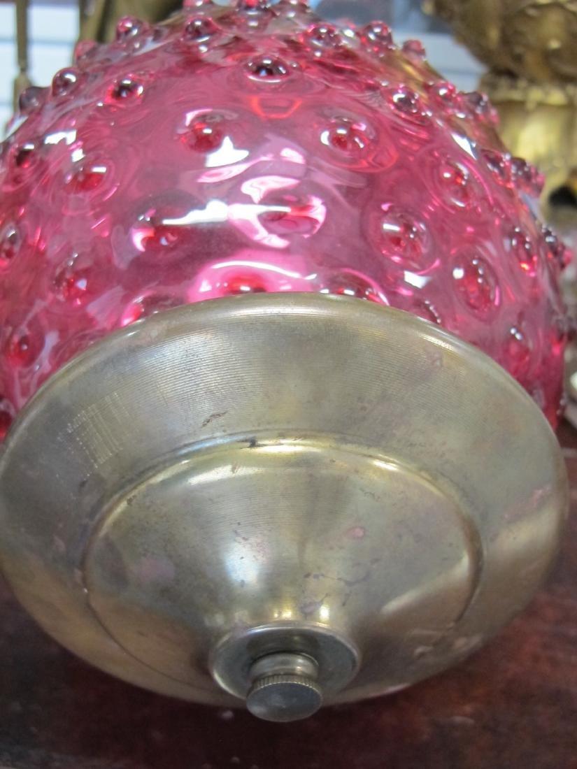 Antique cranberry glass chandelier - 6