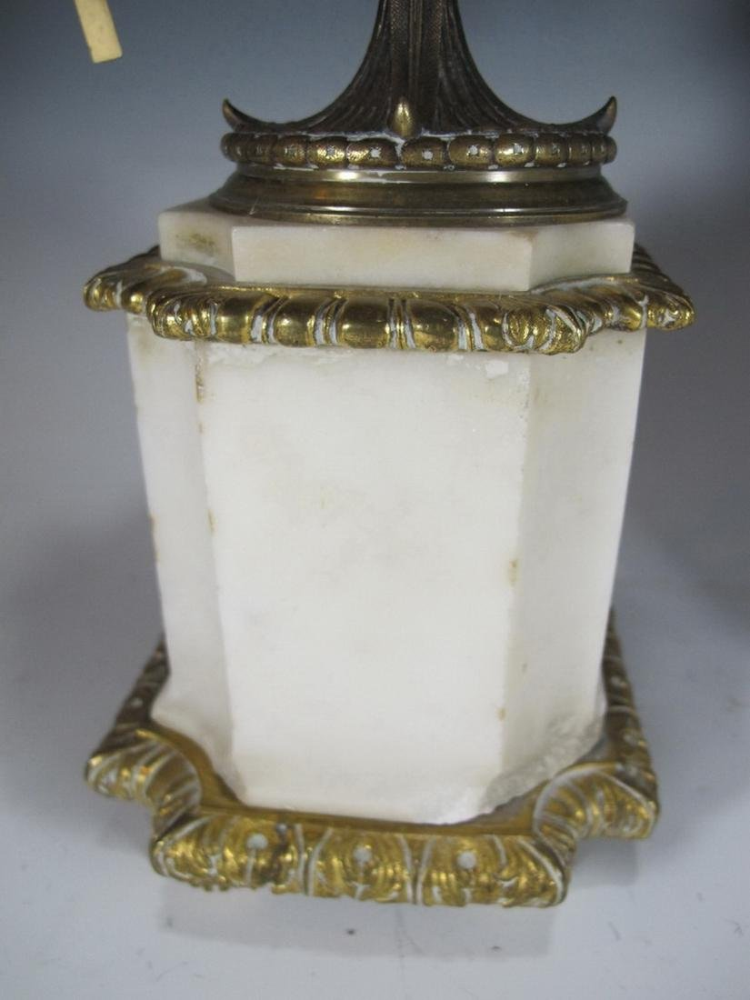Antique French pair of marble & bronze urns - 3