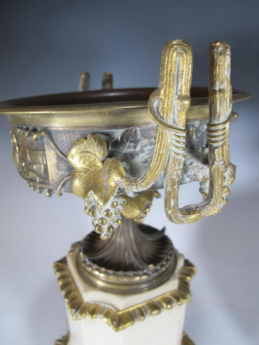 Antique French pair of marble & bronze urns - 4