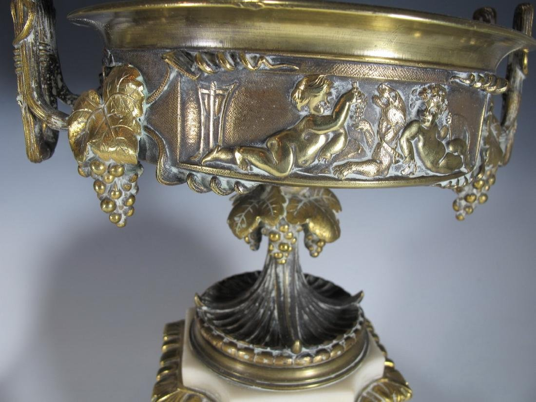 Antique French pair of marble & bronze urns - 6